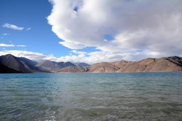 Panong Tso, Tibetan for 'high grassland lake', also referred to as Pangong Lake, is an endorheic lake in the Himalayas situated at a height of about 4,350 m (14,270 ft).