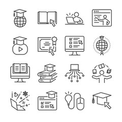 Online education line icon set. Included the icons as graduated, books, student, course, school and more.
