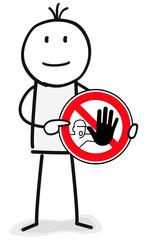 Figur zeigt auf Achtung halt Schild