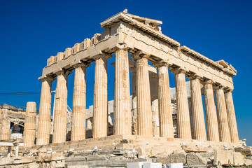Parthenon temple on a bright sunny day. Acropolis in Athens, Greece