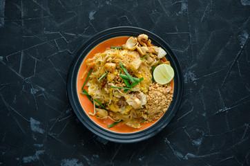 Pad Thai Noodle, Thai Style Stir-Fried Noodle.