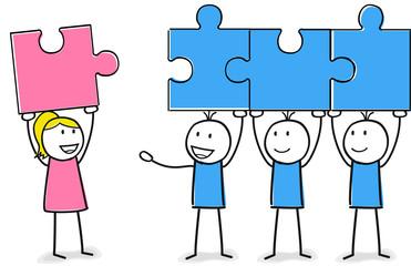 Team mit Puzzle aus Frauen und Männern Frauenquote