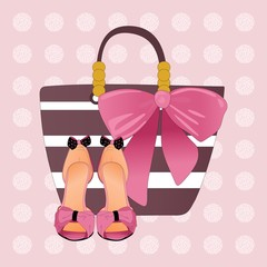 Spring Summer poster, woman shoes and accessories and colorful design for poster, greeting card, invitation. Easy editable for Your design.