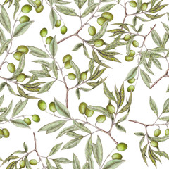 Seamless pattern of hand drawn olives