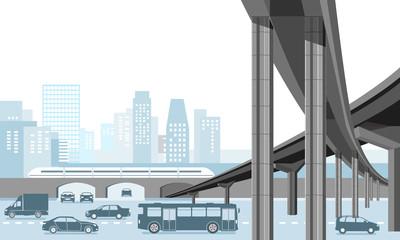 Städtische Gemeinde mit Personentransport und Straßenverkehr