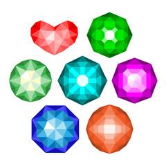 Set of multi-colored classic round brilliant cut gems.