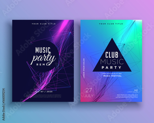 Music Party Invitation Poster Template Set Stockfotos Und