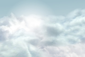 Vector sky background with realistic isolated clouds and bright sun light.