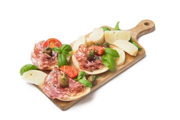 Spoed Fotobehang Voorgerecht Stuzzichini di pane, salame e formaggio, Italian Appetizers