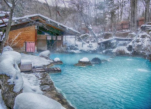 Shirahone onsen white bone hot spring with fog and snow in autumn, Japan