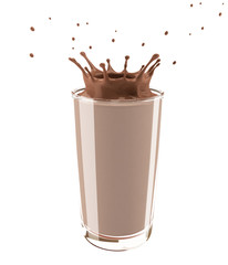 Splash of cocoa in a glass. Isolated on white background. 3D illustration