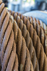 old steel cable inside warship