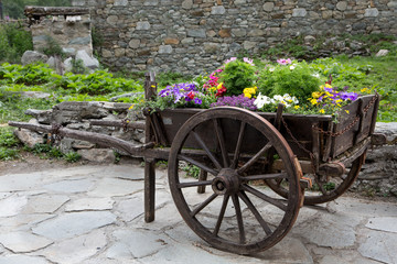 Vieille charrette remplie de fleurs