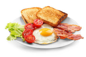 Tasty breakfast with fried egg on white background