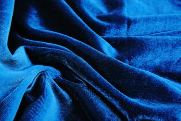 Blue velvet silk close up.