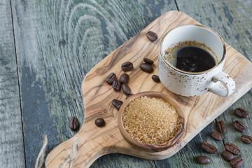 Black coffee and cane sugar