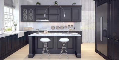 Classic design of kitchen 3D Rendering