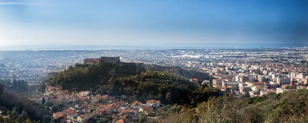 Massa. View of Malaspina Castle. In the background the Tyrrhenian Sea. Massa - Tuscany - Italy.