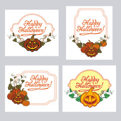 """Set of labels with Halloween pumpkin and text """"Happy Halloween!"""" Original design element for greeting cards, invitations, prints. Vector clip art."""