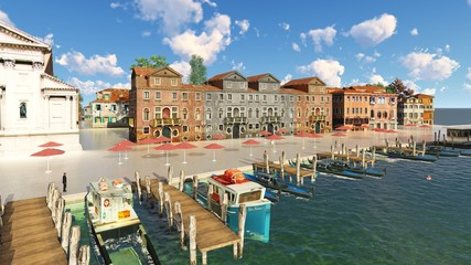 picturesque city in Italy 3d rendering