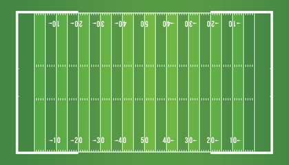 American football field from top view.