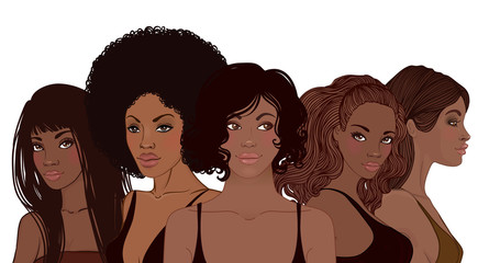 Group of African American pretty girls. Female portrait. Black beauty concept. Vector Illustration of Black Woman. Great for avatars.