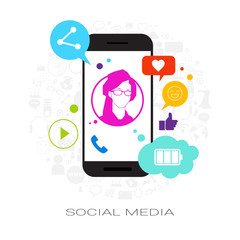 Female Profile On Cell Smart Phone Screen With Social Media Icons Network Communication Concept Vector Illustration