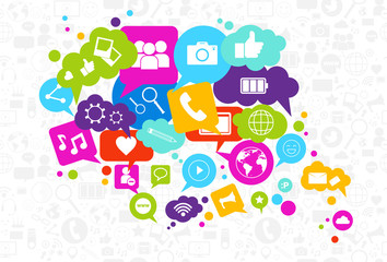 Social Media Icons Chat Bubble On White Background Network Communication Concept Vector Illustration
