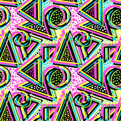 Abstract geometric triangles seamless background.Memphis style neon colors.