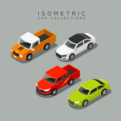 Isometric car collections, vector illustration