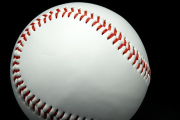 Isolated baseball on a black background and red stitching baseball.