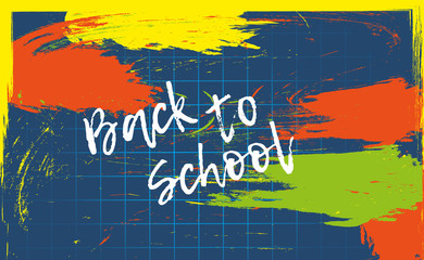 Back to school banner or poster. Abstract colorful background with cell. Vector