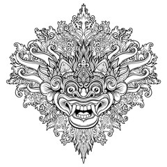 Barong. Traditional ritual Balinese mask. Vector decorative ornate outline illustration isolated. Hindu ethnic symbol, tattoo art, yoga, Bali spiritual design