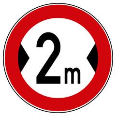 rsr25 RoadSignRound - Zeichen: 264 - Verbot für Fahrzeuge über der angegebenen tatsächlichen Breite einschließlich Außenspiegel - 2,0 meter - Fahrspur / Fahrbahnverengung - xxl g5329