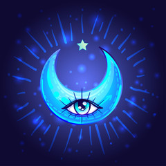 Mystic Crescent Moon with one eye in anime or manga style. Hand-drawn vector illustration over deep background. Trendy magic print, alchemy, religion, spirituality, occultism.