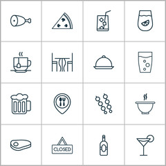 Eating Icons Set. Collection Of Lemonade, Soda Drink, Cocktail And Other Elements. Also Includes Symbols Such As Pizza, Steak, Lemonade.