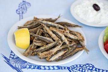 Fried anchovies, gavros in greek taverna