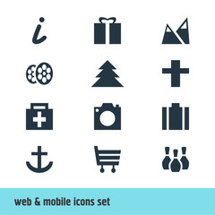 Vector Illustration Of 12 Map Icons. Editable Pack Of Drugstore, Briefcase, Jungle And Other Elements.