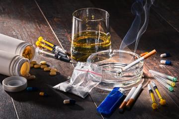 Photo sur Plexiglas Bar Addictive substances, including alcohol, cigarettes and drugs