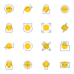 Vector Illustration Of 16 User Icons. Editable Pack Of Approved Profile, Dossier, Bolt And Other Elements.