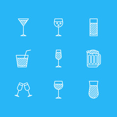 Vector Illustration Of 9 Drinks Icons. Editable Pack Of Draught, Celebrate, Goblet And Other Elements.