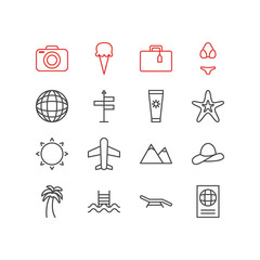 Vector Illustration Of 16 Summer Icons. Editable Pack Of Anti-Sun Cream, Certificate, Earth And Other Elements.
