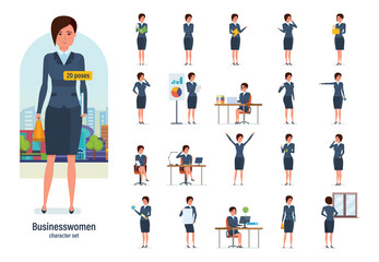 Businesswoman worker in formal wear. Different poses, emotions, gestures.