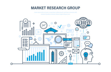 Market research group. Analysis, research, communication, statistic, information exchange, calculations.