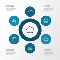 Weather Outline Icons Set. Collection Of Snow, Overcast, Snowy Raining And Other Elements. Also Includes Symbols Such As Percent, Snowy, Snow.