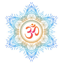 Diwali Om symbol with mandala . Round Pattern. Vintage style decorative vector elements. Hand drawn background. Indian, Great design for tattoo, yoga studio, spirituality concepts.