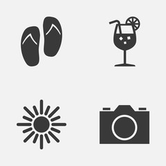 Season Icons Set. Collection Of Sunny, Video, Lemonade And Other Elements. Also Includes Symbols Such As Sunny, Flip, Lemonade.