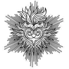 Sacred Heart of Jesus with rays. Vector illustration black isolated on white. Trendy Vintage style element. Spirituality, occultism, alchemy, magic, love.