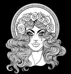 Madonna, Lady of Sorrow. Devotion to the Immaculate Heart of Blessed Virgin Mary, Queen of Heaven. Vector illustration isolated. Coloring book for adults.