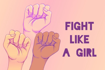 Fight like a girl. 3 Woman's hands with her fist raised up. Girl Power. Feminism concept. Realistic style vector illustration in pink  pastel goth colors.